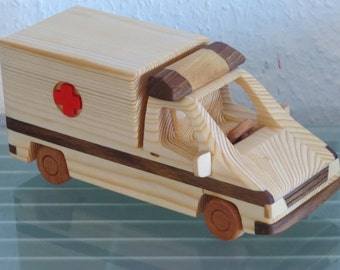 rescue vehicle rescue service wooden car wood very rare handwork