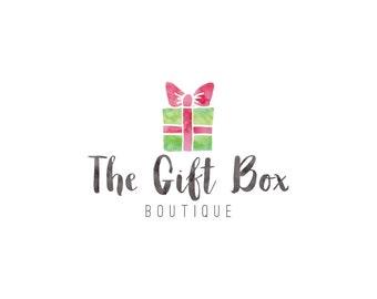 Custom Logo, Gift Logo, Premade Logo, Logo Design, Business Branding, Pre-made Logo, Logo, Watercolor Gift Box Logo
