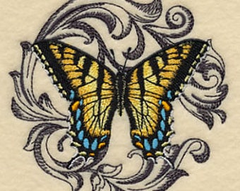Embroidered Patch / applique - Baroque Tiger Swallowtail Butterfly - sew , glue , or iron on 3 x 4 inch ANY COLORS