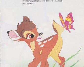"50% Off Estate Sale Vintage Disney Print, Bambi, Childrens Art, Nursery Art, Bambi Print, 11.25"" x 8.25"" or Matted to 11"" x 14"