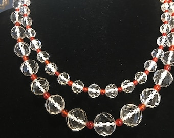 vintage czech faceted crystal and cornielian beads art deco