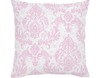 Pink Painted Damask Throw Pillow by Carousel Designs. Made in the USA.