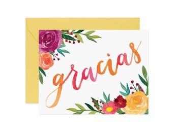 "Watercolor Bright Floral ""Gracias"" Thank You Card | Thank You Card | Greeting Card | Flower Card | Watercolor Card"