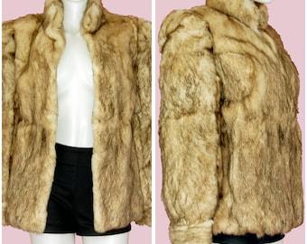 Vintage Coat Light Brown Rabbit Fur 1980s Vintage Coat Size Small