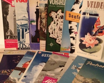 ON SALE Lot of 29 Vintage 1930's - 1950's Europe Travel Brochures Switzerland Germany Italy Austria