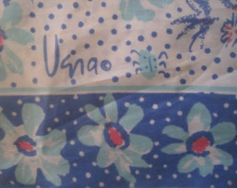 """Vintage Vera Scarf, Ladybug, Approx. 22"""" Square, Hand Rolled, Flowers, Polkadots,  Retro, 1970's"""