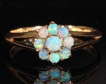Antique Opal Cluster Ring in 14k Gold
