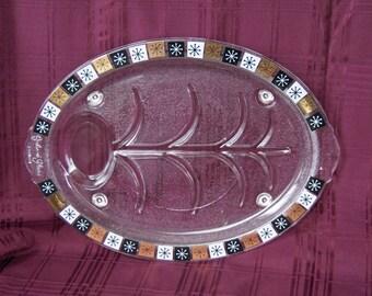 "Inland Glass Platter ~ 15"" x 11"" ~ Atomic Starburst  ~ Atomic Snowflake ~ Meat Platter ~ Tree-Well ~ Mid Century ~ MCM"
