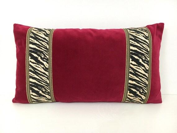 Items Similar To Red Velvet Lumbar Pillow Cover On Etsy