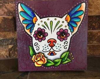 Original Dog Sugar Skull Painting - Día de los Muertos Style Art on Wood Panel - dog painting