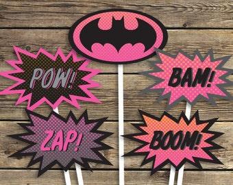 BATMAN Bat Girl Printables - Sign - Centerpiece photo prop - Super hero - Birthday Party - INSTANT Download PDF