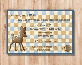 Deer Boy Baby Shower Invitation (Personalized, Digital File only)