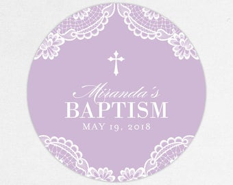 Baptism Favor Tag, Baptism Favor Label, Christening Favor Tag, Christening Favor Label, Printed, Floral, Damask, Lace, Girl, Purple, Miranda