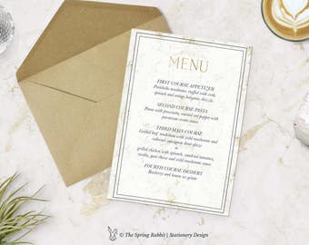 Gold Marble Printable Menu Card - Marble Menu Card - Customizable invitations - DIY Wedding Invitation Set