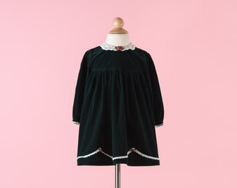 Vintage Deep Pine Green Velvet Lace Collared Dress (Size 3T)