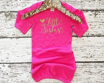 Baby girl clothes coming home (gown only) Little Sister Gold Sparkle coming home gown new baby birth announcement