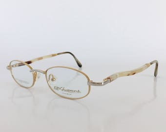 Pol Gaspard Eyewear, Model A 2803 X, Silver and 24k gold plated glasses, Genuine horn temples, Vintage dead stock eyeglasses, Made in France