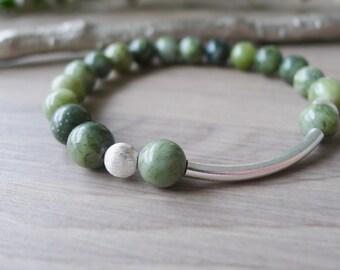 Green Bracelet, Jungle Jasper, Green and Silver, Stretch Bracelet, Stone Bracelet, Modern Bracelet, Gemstone Bracelet, Jasper Bracelet