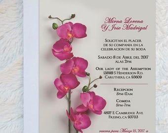 Orchid Wedding Invitation - Beautiful Orchid Wedding Invitation - Orchid Invite - Spanish Invitation