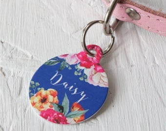 Personalised Rose Bouquet Pet ID Tag  - Dog Name Identification
