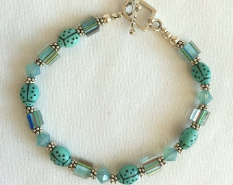 Beaded Sterling Silver Bracelet with Aqua Art Glass, Crystals and Aqua Ladybugs for Good Luck -  - Clearance Sale and FREE Shipping