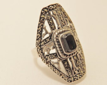 Sterling Silver Red Garnet  Art Deco Ring Size 6