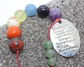 Affirmation Beads, Serenity Prayer Chakra Affirmation Beads - Chakra Affirmations, Reiki, 7 Chakras, Positive Affirmations, Prayer Beads
