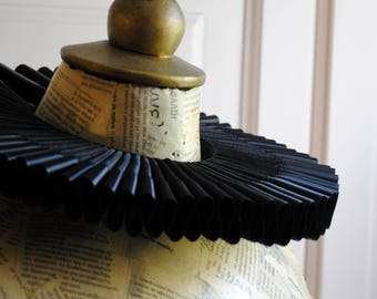 Black Organza Elizabethan Ruff Collar with Satin Edge,Renaissance Historical Costume,Mardis Gras-Custom-Made to Order