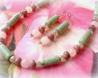 Gemstone Necklace, Pink and Green, Handmade Necklace, Green Jasper Cylinder Necklace, Pink Quartz, Green Jasper Jewelry, Rose Quartz Jewelry