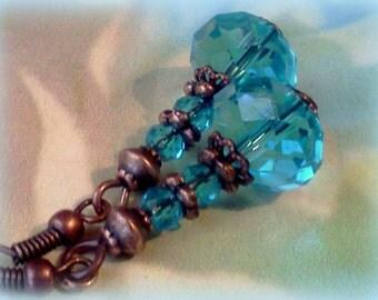 Aqua Earrings, Aqua Crystal Earrings, Teal Blue Earrings, Handmade Blue Earrings, Teal Crystal Copper Earrings, Aqua and Copper, Teal Drops