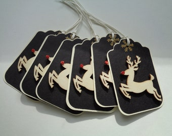 6 Rudolph the Red Nose Reindeer tags - Wooden 3D tags - Merry Christmas tags - Red Nose tags - Reindeer tags