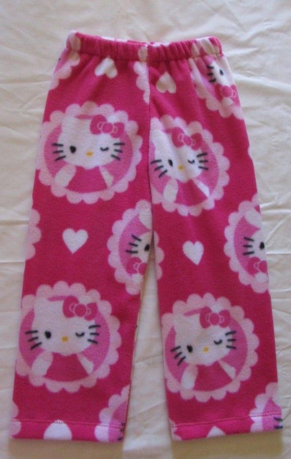Hello Kitty fleece pajamas / girls pajamas / fleece pajama bottoms / girls fleece pants / junior fleece pajamas / sizes 1T to 16 junior
