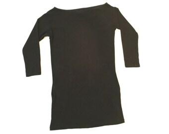 Black Stretchy Long Sleeve Mini Dress