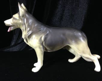 Large German Shepherd Malamois Dog Figurine - Matte Lefton China hand painted Japan 1960s