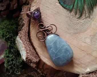 Pendant with Amethyst and Iolite drop-Wire Copper