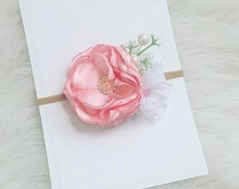 Pink Singed Flower Headband | Nylon Headband | Valentines Headband | Newborn Headband | Baby Headband