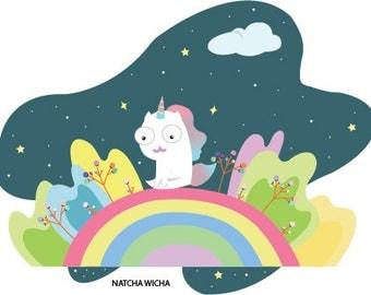 rainbow unicorn Digital download art
