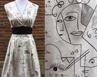 Picasso Inspired Retro Day Dress Medium and Large