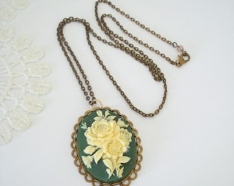Vintage Green Cameo, Floral Cameo Necklace, Large Cameo Pendant, Victorian Style, Long Layering Necklace