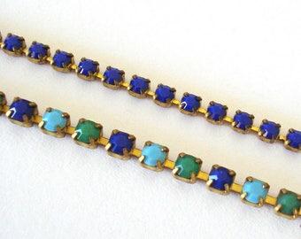 Blue Rhinestone Bracelet, Dainty Jewel Bracelet, Elegant Boho Bracelet, Hollywood Glamour, Gift for Her