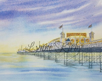 Seaside painting Brighton Pier Mounted original Watercolour painting British art sunset scene lilac Brighton Pier at Dusk