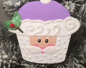 Purple Santa cupcake ornament.