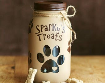 Dog Treats Jar - Pet Decor - Dog Gift - Mason Jar - Personalized Dog Treats Jar - Customized Dog Treats Jar - Customized Pet Gift