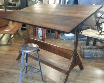 Vintage industrial antique drafting table