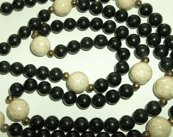 "Lovely Black Onyx  Beaded Necklace    36"" long"