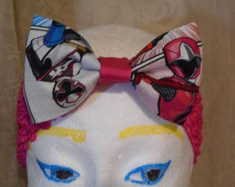 Pink  Power Rangers Print Fabric Hair Bow Pink  Wide Stretchy Headband Ready To Ship