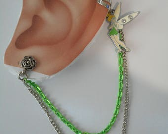 Tinkerbell Shaped  Ear Cuff with Green & Silver Color Chains