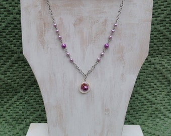 Necklace with Lavendar and Purple Glass Pearl Beads on a Silver Chain with Sea Shell Pendant; Gift for Her; Coastal, Beach; Nautical
