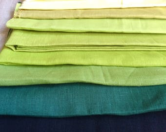 Green linen fabric remnants, medium weight pure linen green shades