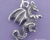 DRAGON Charm .925 Sterling Silver Pendant - d9376